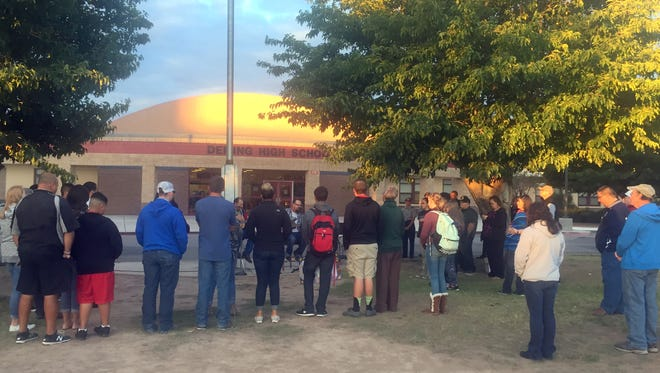 The Deming High School Fellowship of Christian Athletes will continue the global day of prayer in front of the flag pole and at new DHS campus.