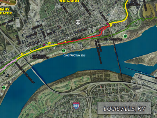 The red portion pictured above is the third part of New Albany's commitment to the Ohio River Greenway. Construction is expected to start in the spring.