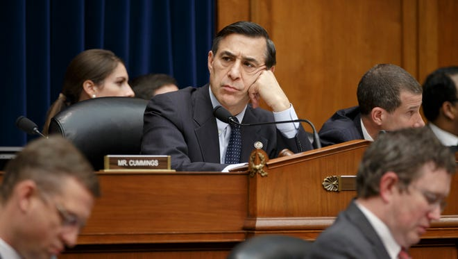 Rep. Darrell Issa, R-Calif., the tenacious chairman of the House Oversight Committee, listens to final statements from members as the the Republican-controlled panel voted in favor of holding former Internal Revenue Service official Lois Lerner in contempt of Congress for her previous refusal to answer questions at two hearings on whether tea party and conservative political groups had been targeted for extra scrutiny, on Capitol Hill in Washington, Thursday, April 10, 2014. All Republicans voted in favor and all Democrats voted against. (AP Photo/J. Scott Applewhite)