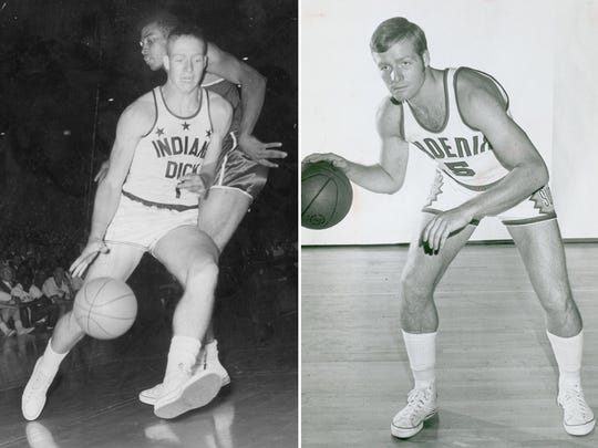 Dick Van Arsdale as an Indiana All-Star (left) and a Phoenix Sun (right).