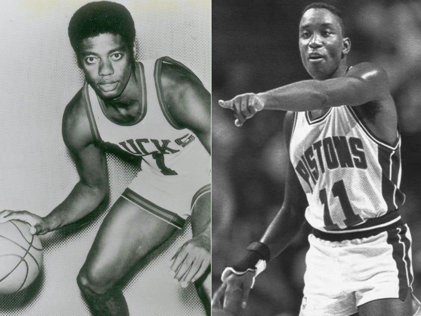 Oscar Robertson with the Milwaukee Bucks; Isiah Thomas with the Detroit Pistons
