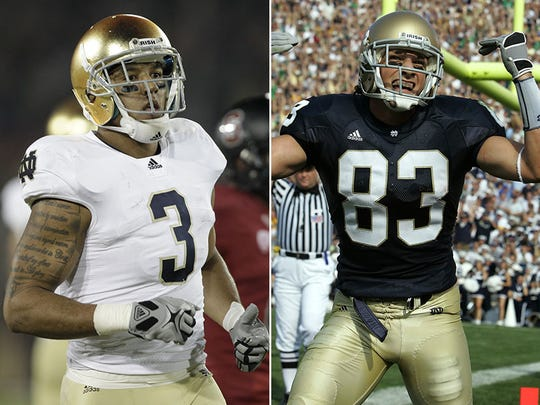 Former Notre Dame WRs Michael Floyd (left) and Jeff Samardzija (right).