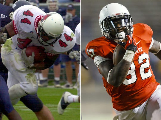 Ball State running backs Marcus Merriweather (left) and Jahwan Edwards (right).