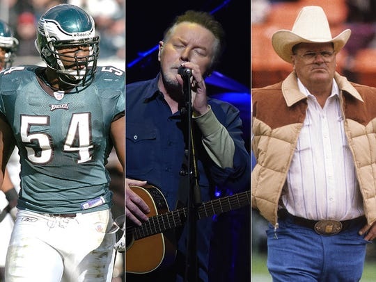 L to R: Jeremiah Trotter, Don Henley and Bum Phillips.