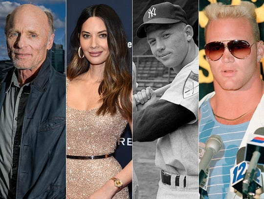 L to R: Ed Harris, Olivia Munn, Mickey Mantle and Brian