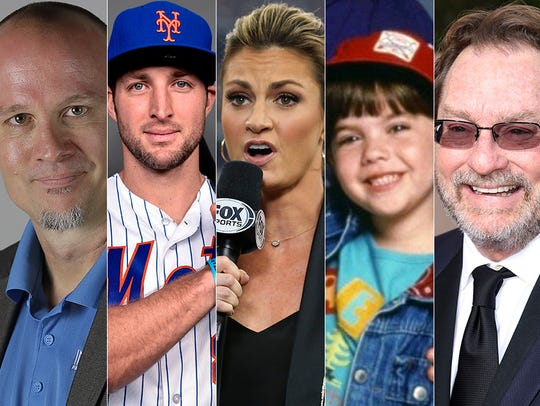 L to R: Gregg Doyel, Tim Tebow, Erin Andrews, Robin