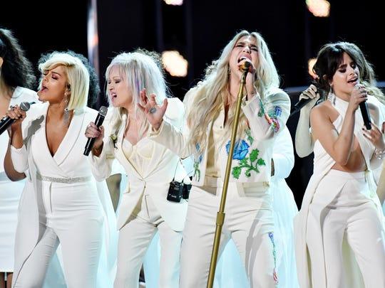 (Left to right): Bebe Rexha, Cyndi Lauper, Kesha and
