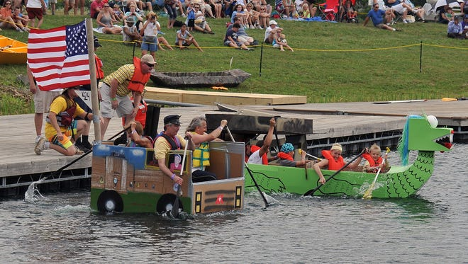 Up to 30 entries are expected at this year's Crazy Cardboard Regatta, schedule for noon Saturday on the lake at Voice of America Park.