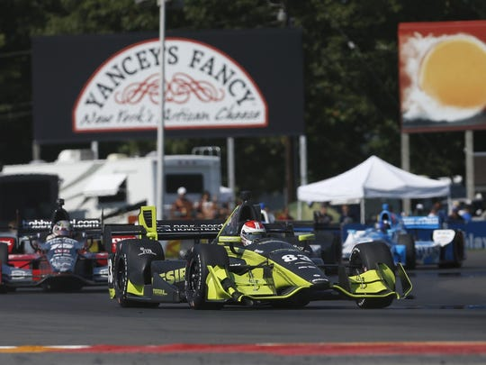 Drivers compete in last year's IndyCar race at Watkins