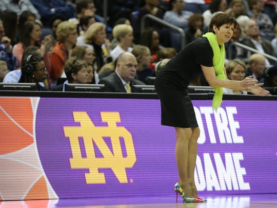 Notre Dame Fighting Irish coach Muffet McGraw reacts