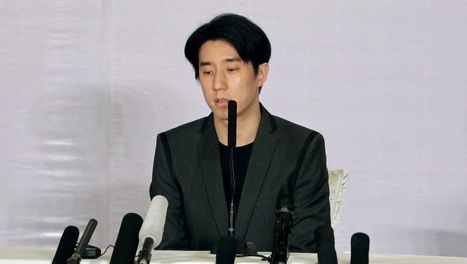 Hong Kong actor Jaycee Chan speaks during a news conference at a hotel in Beijing Saturday, Feb. 14, 2015. The son of actor Jackie Chan apologized to the public Saturday and asked for a second chance following his release from a six-month jail sentence for allowing people to use marijuana in his apartment.