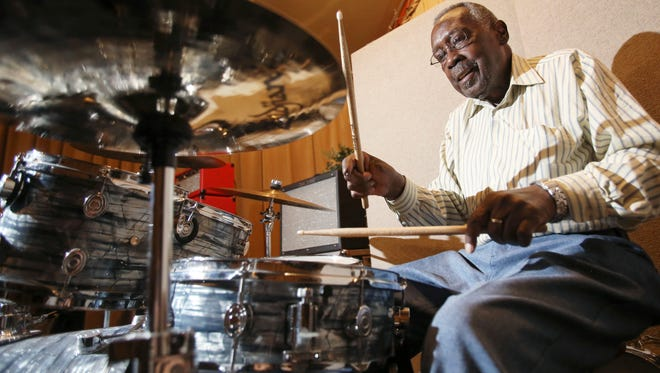 In this Sept. 4, 2015 photo, legendary drummer Clyde Stubblefield plays a set on the drums at Sosonic studio before a performance to raise money for a scholarship fund established in his name in Madison, Wis.