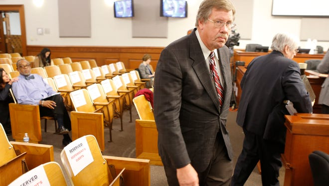 Louisville Metro Council member Dan Johnson entered the chambers for his trial which seeks his removal from office for sexual harassment. Nov. 1, 2017.