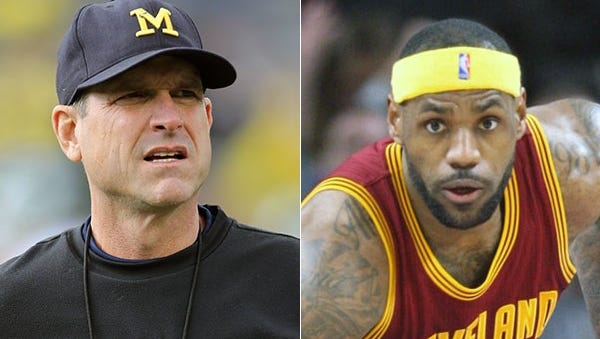 Two well-known sports figures and social media users: Michigan coach Jim Harbaugh and Cavaliers superstar LeBron James.