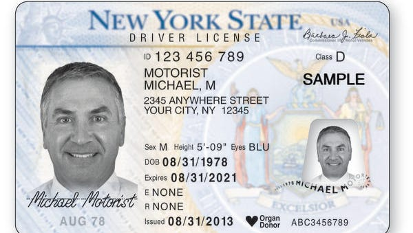 The new New York driver's license for drivers over 21.