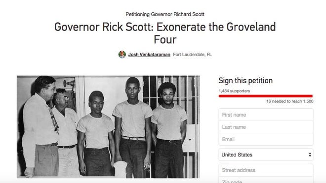 A screenshot of a 3-year-old online petition that University of Florida senior Josh Venkataraman started, calling for the exoneration of the Groveland Four. The men have still not been pardoned of the crimes they didn't commit.