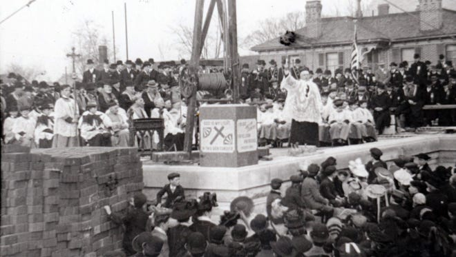 The cornerstone is laid for St Joseph's School in 1908.