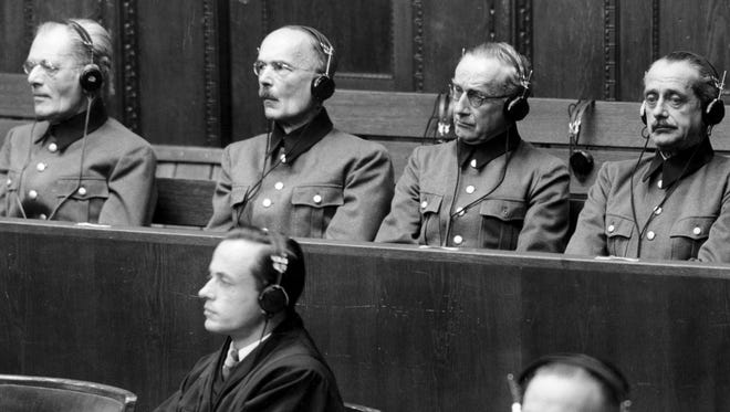 File - (AP) Nuremberg trial - Defendants of general trial. From left to right: field-marshall Freiher Maimilian von Weichs, Lothar Rendulic, colonel-general Ernst Dehner, general of infantry, and Ernst von Leyser, general of infantry.