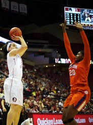 Florida State senior guard Brittany Brown (12) takes