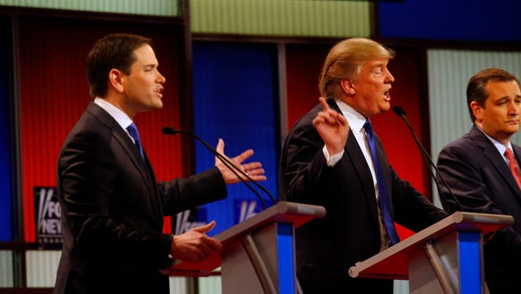 Marco Rubio and Donald Trump during Thursday's debate.
