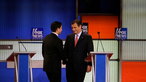 Marco Rubio and Ted Cruz at the March 3 debate in Detroit.