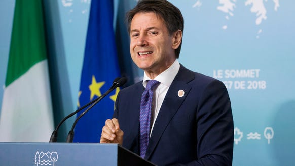 Prime Minister of Italy Giuseppe Conte holds a news