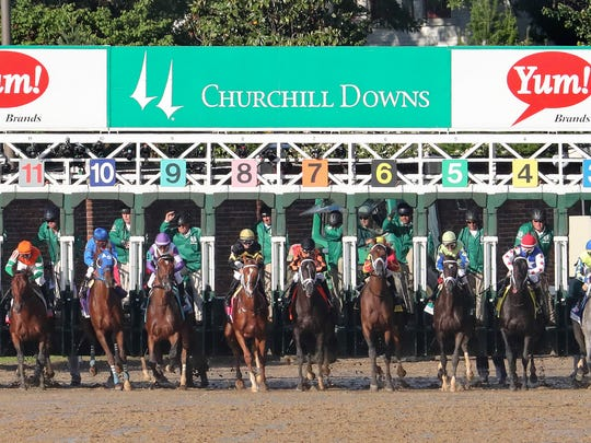 Horses leave the starting gate for the 2017 Kentucky