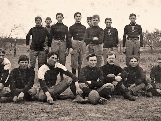 "Simmons College fielded Abilene's first football team. The first game was in 1897 against a team of Abilene ""all-stars."" Coaching the Simmons team was Professor Karl Krause (front row, third from left) who played for Amos Alonzo Stagg."