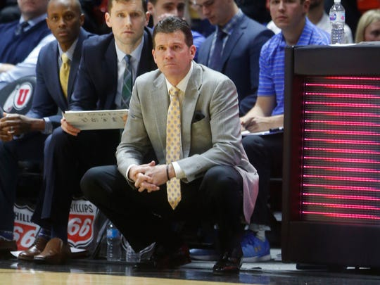 Former UCLA coach Steve Alford watches the Bruins play against Utah in a 2018 game.