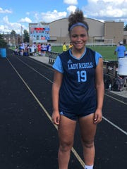 Boone County senior Rielyn Hamilton after breaking the school goal-scoring record Sept. 15, 2018.