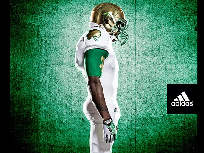 Notre Dame's Shamrock Series uniforms are all-white with an oversized clover shoulder detail.