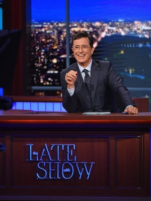 """Host Stephen Colbert appears during a taping of """"The Late Show with Stephen Colbert,"""" in New York."""