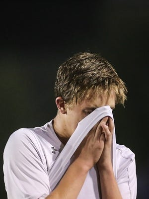 Susquehannock's Xander Holloway drops his head after the Warriors suffered a 2-1 loss to Fleetwood in a District 3 Class 3-A boys soccer quarterfinal at Hersheypark Stadium Thursday, Oct. 27, 2016. Amanda J. Cain photo