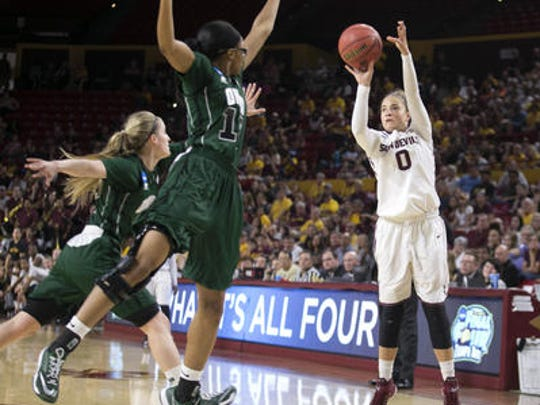 Junior guard Katie Hempen (0) is ASU's single-season