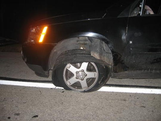 Police say Collins Lindsey, 26, of Sandusky, fled Carroll Township police in this vehicle, leading a sheriff's deputy to puncture the tires during a pursuit.