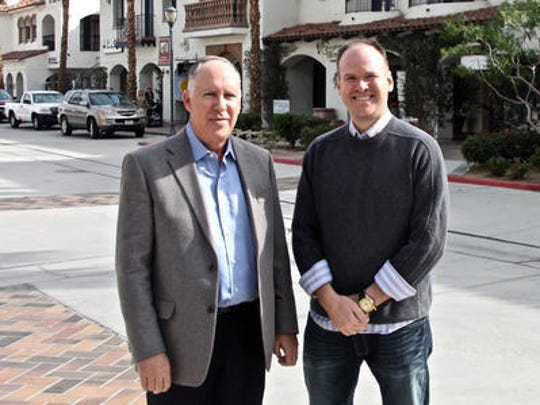 Wells Marvin, left, owner of Old Town La Quinta, and property manager Kevin Dolan on Main Street.