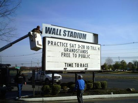 Wall Stadium sign on Route 34.