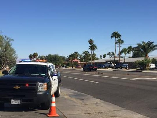 This 2016 photo shows Palm Springs police at Vista Chino and Via Miraleste, where two pedestrians died after being hit by vehicles that year. A traffic signal is being installed at the intersection to improve safety.