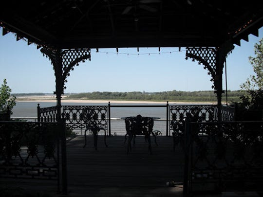 The gazebo on the grounds of the National Ornamental Metal Museum is a great place to relax and watch the river.