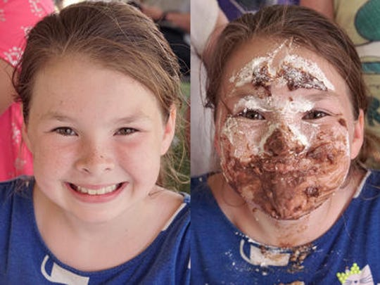 Emily Finger, before and after competing in the Spree Pie-Eating Contest last year sponsored by the Livonia Observer.