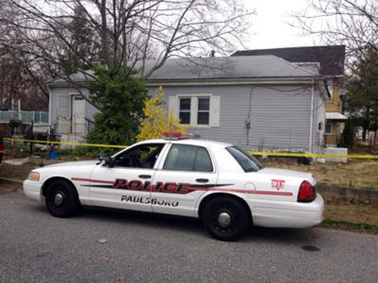 A Paulsboro police car is shown outside the South Delaware Street home of homicide victim Thirza Sweeten in March 2012.