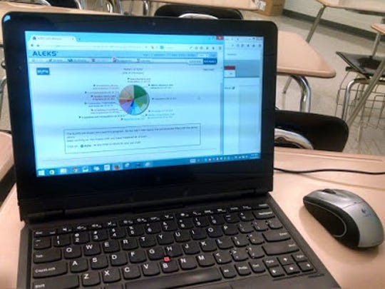 "The computer-based ALEKS system uses ""pies"" as the main goal system for students to complete. Students can pick with math topics to work on, and then the system tracks their progress so that teachers can know when their students are ready to learn a new concept."