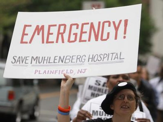 2008 Statehouse protest to save Muhlenberg Hospital in Plainfield. The state approved closure of the hospital later that year.