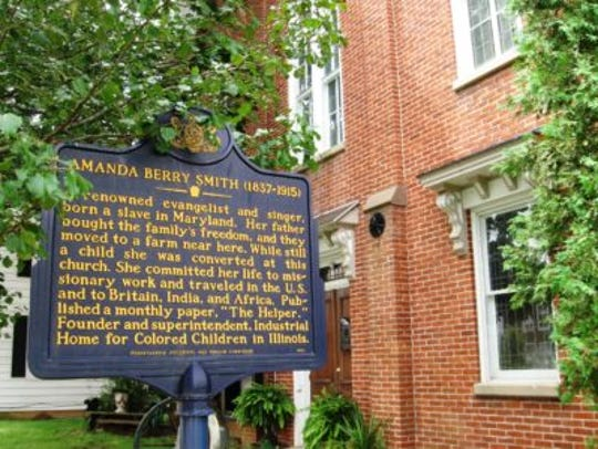 This historical marker stands in Shrewsbury.