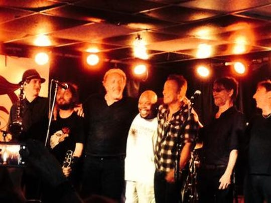 Bruce Springsteen and saxophonist Eddie Manion with Joe Grushecky and the Houserockers at the Wonder Bar, July 18, 2015.