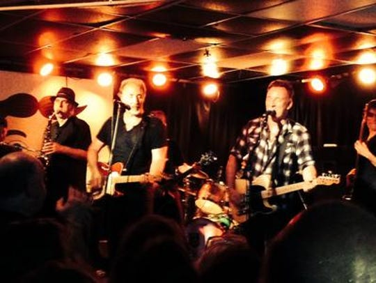Eddie Manion, Joe Grushecky and Bruce Springsteen at the Wonder Bar in Asbury Park on Saturday, July 18, 2015.