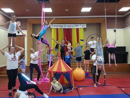 Young performers at the Amazing Grace Circus camp.