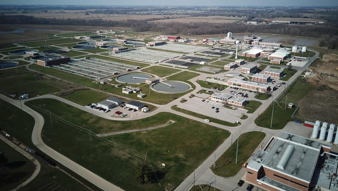 An aerial view of the 225-acre Southerly Wastewater Treatment Plant, which is Columbus' largest sewage treatment plant.