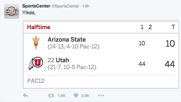 Even @SportsCenter had its fun with ASU's performance at Utah on Thursday night.