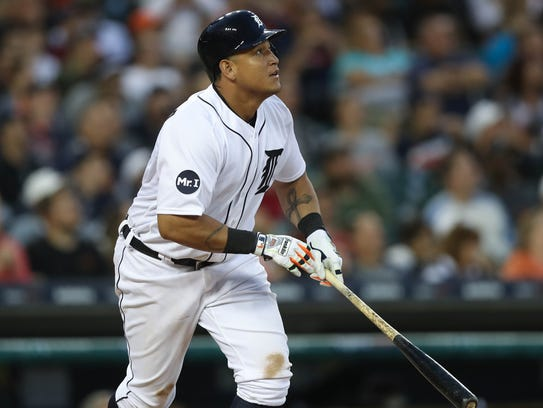 Tigers first baseman Miguel Cabrera bats during the